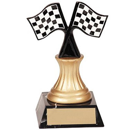 "Pine Wood Derby Trophy (5.5"" Tall Color Racing Flag Trophy - Customize Now - Personalized Engraved Plate Included & Attached to Award - Perfect Awards Trophy - Hand Painted Design - Decade Awards)"