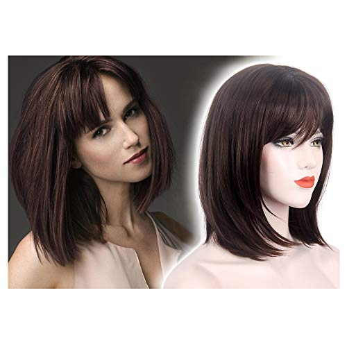 (STfantasy Summer Brown Bob Wigs with Bangs Short Straight Synthetic Hair for Women Daily Everyday Wear Cosplay Costume Halloween Party Cross)