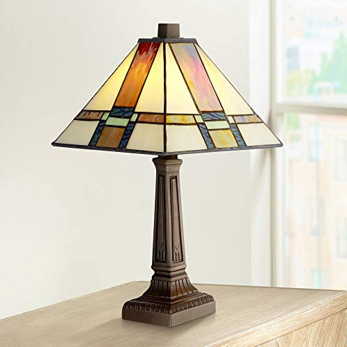 """Morris Mission Accent Table Lamp 14 1/4"""" High LED Art Deco Stained Glass Shade for Bedroom Bedside Nightstand Office - Robert Louis Tiffany"""
