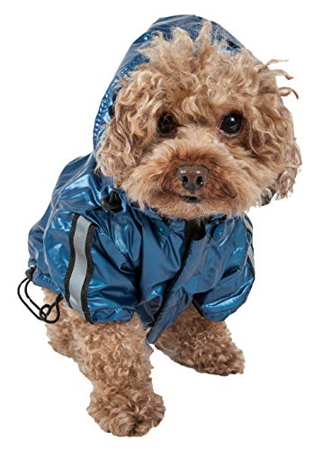 PET LIFE 'Reflecta-Sport' Fashion Insulated Adjustable and Reflective Windproof Water-Resistant Pet Dog Coat Jacket Rainbreaker w/ Removable Hood, X-Small, Dark Blue