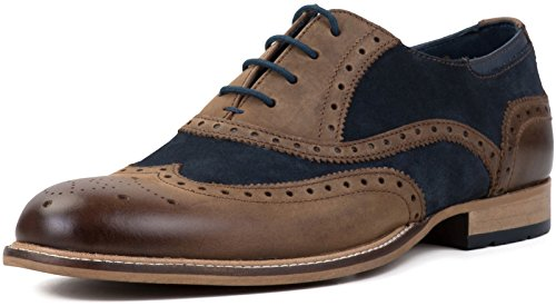 Goodwin Smith Edwood Leather/Suede Mens Oxford Brogue Shoes, Size - Smiths Mens Shoes