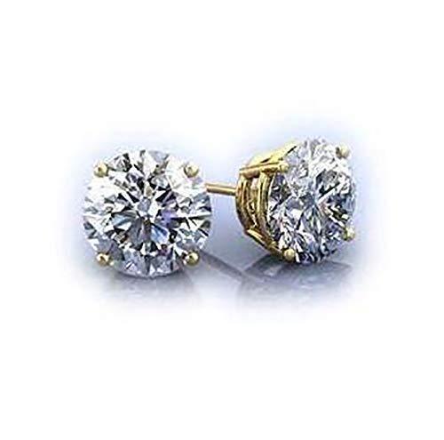 - 1.5-4 Carat Total Forever One Moissanite Stud Earrings on 14k/18k White/Yellow Gold Or Platinum 6-8 mm each stud.