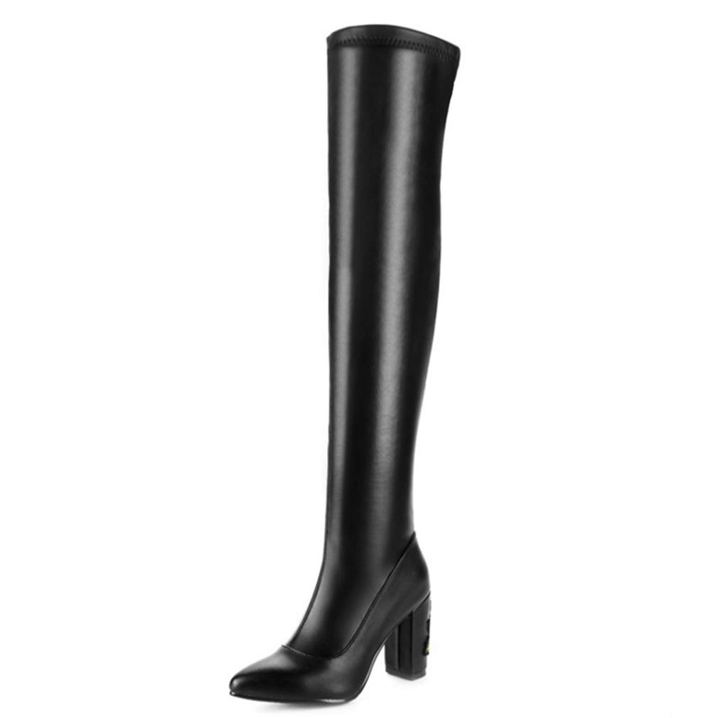 Black T-JULY Women's Embroider Long Boots with Point Toe Chunky Slip-on Short Plush Over-The-Knee Boots Fashion Sexy shoes Plus Size