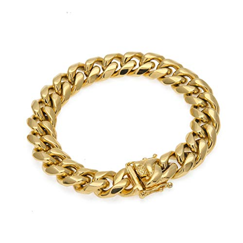PY Bling Mens Heavy Miami Cuban Link Chain Choker 14k Gold Plated Hip Hop Thick Stainless Steel 10mm-14mm Necklace/Bracelet (12mm,8.5)