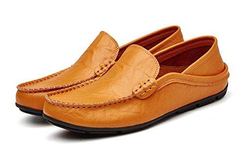 Männer Slip-On Oxford Schuhe Hosen Schuhe Breathable Casual Loafer Leder Schuhe Fahrschuhe Pedal , brown , 38