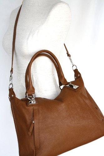 Leder Beuteltasche , Tote Bag Mod. 2081-p ,Italy Orange