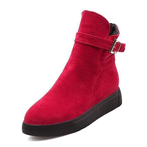 AllhqFashion Mujeres Puntera Redonda Caña Baja Tacón Medio Sólido Gamuza(Imitado) Botas Rojo