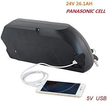 HYLH Servicio Gratuito Tiger Shark Bicicleta eléctrica ebike 24V 26.1AH Panasonic Cell Down Tube Batería de Iones de Litio 18650 Cell + 5A Cargador + USB Puerto de Carga móvil