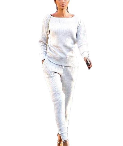 Huateng Pijama de Punto Casual Mujer 2 Piezas: Amazon.es: Ropa y ...