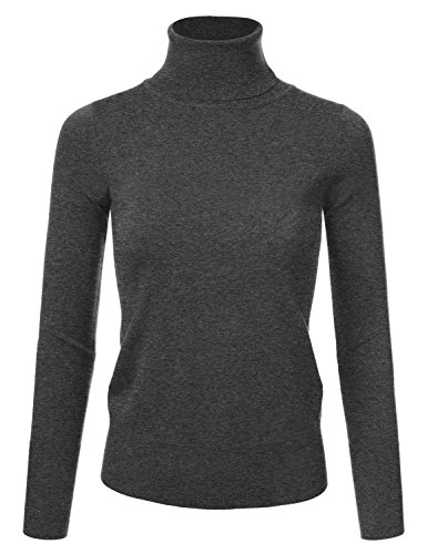 Stretch Knit Pullover - JJ Perfection Women's Stretch Knit Turtle Neck Long Sleeve Pullover Sweater CHARCOALGREY XL