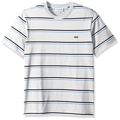 Lacoste Men's S/S Striped Jersey T-Shirt Shirt, Flour/Creek/White/Navy Blue, 3XL
