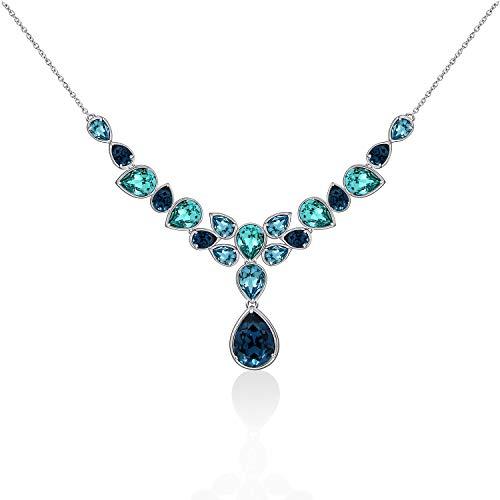J'ADMIRE Swarovski Crystal Elements Multi Turquoise Pear Shape-Bezel Statement Necklace, Platinum Plated Sterling Silver