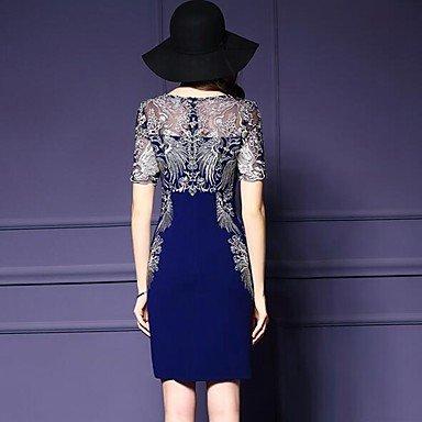 PU&PU Robe Aux femmes Gaine Vintage,Jacquard Col Arrondi Au dessus du genou Polyester , blue , l