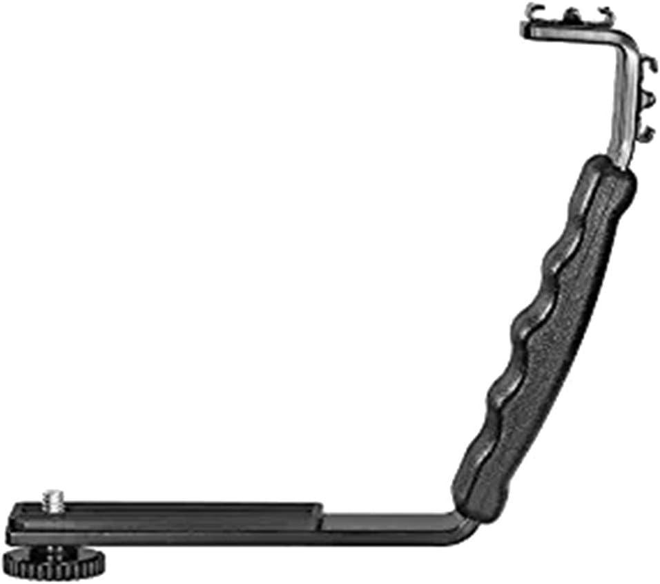 Powerfulline L-Shaped Dual Hot Shoe Flash Bracket DV Tray Mic Stand for DSLR Camera Camcorder