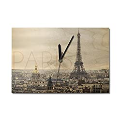 Paris, France - City Aerial View and Eiffel Tower (10x15 Wood Wall Clock, Decor Ready to Hang)