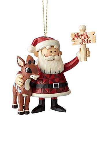Department56 Enesco Jim Shore Traditions 6001891 Rudolph and Santa Holding North Pole Sign Hanging Ornament