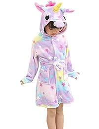 Kid's Coral Fleece Unicorn Hooded Bathrobe Fluffy Sleep Robe For Boys and Girls