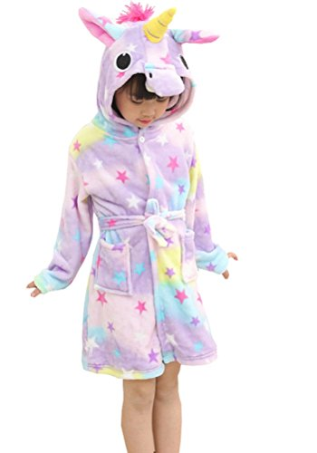 Chicone Kid's Coral Fleece Unicorn Hooded Bathrobe Fluffy Sleep Robe For Boys and Girls Stars 100(for height 90-100cm)