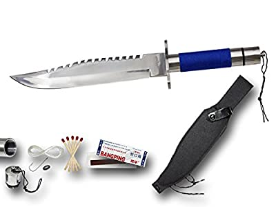 "Mystical Blades® 14"" Rambo Part 1 1st First Blood Blue Ver. Survival Hunting Bowie Knife"