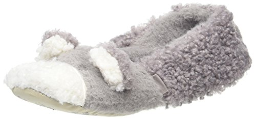 Totes Damen Novelty Bear Ballet Slippers Flache Hausschuhe Grau (Grey)