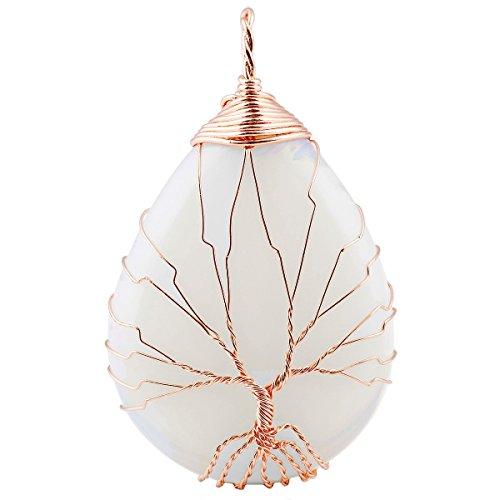 SUNYIK Opalite Teardrop Tree of Life Pendant Necklace,Handmade Copper Wire Wrapped Jewelry