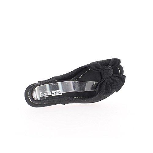 Sandales noires à talon de 14cm et plateau avec noeud