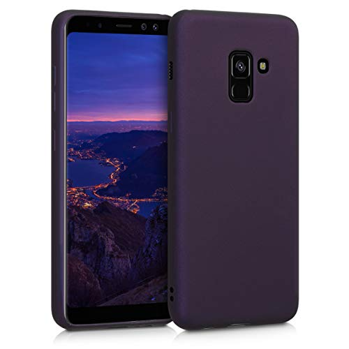 kwmobile TPU Silicone Case Compatible with Samsung Galaxy A8 (2018) - Soft Flexible Protective Phone Cover - Metallic Berry