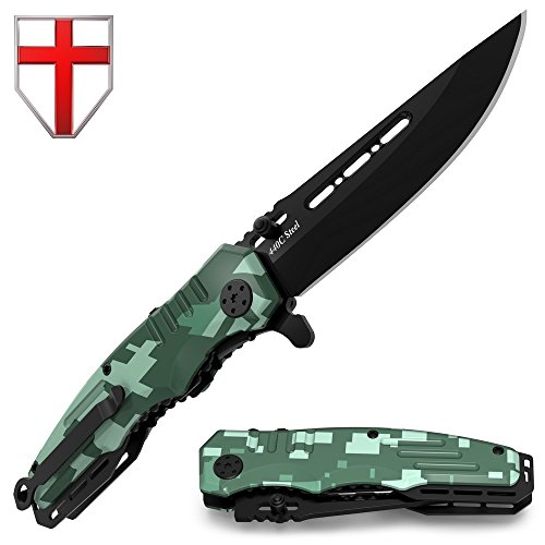 Spring Assisted Knife - Pocket Folding Knife - Military Style - Boy Scouts Knife - Tactical Knife - Good for Camping, Indoor and Outdoor Activities (Medium, Military)