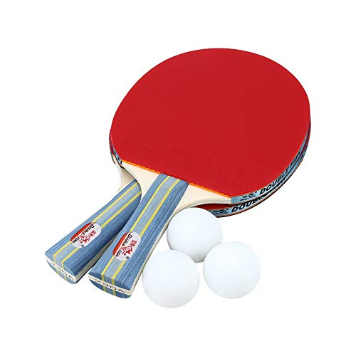 (Double Fish Outdoor Indoor Sports Table Tennis Rackets with Ping-Pong Balls Portable Durable Ping-Pong Paddle Set CH)