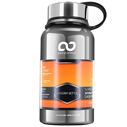 Alpha Armur 20, 26 or 50 Oz Double-Wall Vacuum Insulated Stainless Steel Water Bottle for Cold & Hot Drinks Leak & Sweat Proof Sports Water Bottle/Thermos with Wide Mouth and Tea Filter