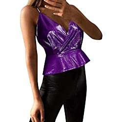 Women S Deep V Neck Wrapped Tank Vest Tangsen Ladies Summer Fashion Solid Elegant Sleeveless Sling Casual Blouse Purple