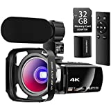 Besungo Ultra HD 4K Camcorder Video Camera with Rechargeable Microphone 2.4G Remote Control Vlogging YouTube Camera 60FPS 48MP IR Night Vision with Wide Angle Lens, Lens Hood, Batteries