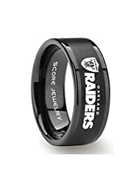 Black Tungsten Band with Flat Edge Football Ring Oakland Raiders Ring Logo Laser Engraved 8mm Tungsten Ring