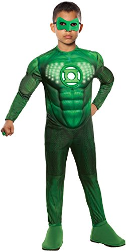 Green Lantern Teen Deluxe Hal Jordan Costume With Light Up Muscle Chest, Green, One Size