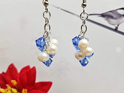 Sapphire Earrings ~ Blue Swarovski Crystal & Genuine White Freshwater Pearl Clusters ~ Lovely June or September Birthday or Bridesmaid Gift