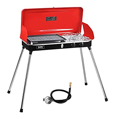 Portable 2 Burner Grill/Stove,Propane Grill with Free Hose and Adapter for Outdoor Cooking-Camping and Tailgating