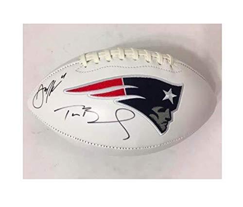 Brady Autographed Football - Tom Brady & Julian Edelman NE Patriots Autographed Logo Football