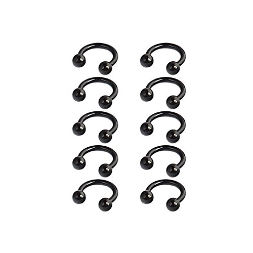 (Ruifan 10PCS 16G 6mm CBR Horseshoe Circular Rings Black Titanium Anodized 316L Surgical Steel for Lip, Septum Piercing Jewelry & Cartilage 3mm Balls)
