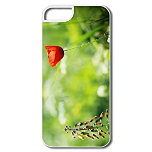 Customized Vintage Cover Red Poppy Close For IPhone 5/5s