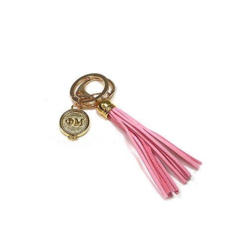 Phi Mu Sorority Fringe Tassel Keychain with Letters Key Attachment