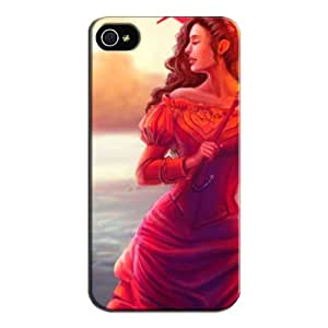 TPU Tearproof Yellow For Iphone 4s Woman Case