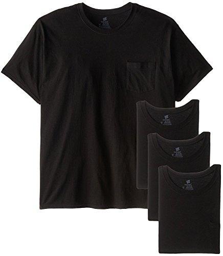 Hanes Men's Pocket T-Shirt, Black, Set of 4 (Black, 3X-LARGE/54-56