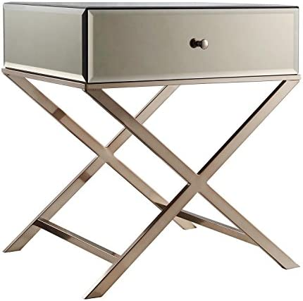ModHaus Living Contemporary Glass Mirror Accent Nightstand End Table