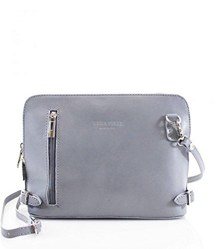 LeahWard Italien echtes Leder Cross Body Bags VERA PELL Große Marke Across Body Handtaschen CW18 (Kaffee) Hellgrau vPZMX