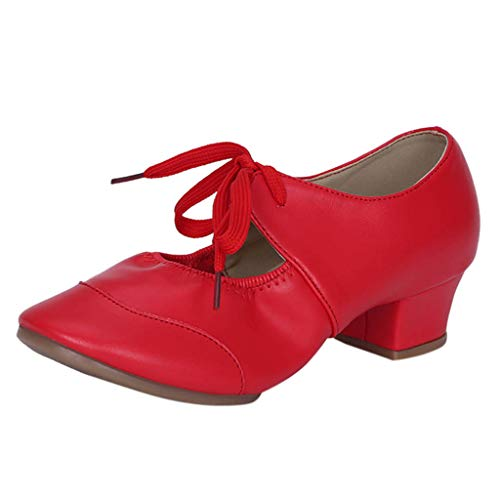 - Hot!Ninasill Woman Glossy Hollow Dancing Shoes Lace up Solid Color mid Heel Thick Heel Sandals Retro Single Shoes Shoes Red