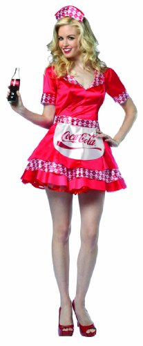 Adult Costumes Cocacola (Rasta Imposta Coca-Cola Soda Girl, Red, Adult)