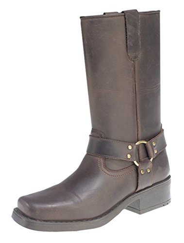 Engineer Boots, Pull-On Western Buckle Biker Boots Brown
