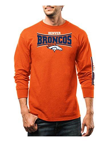 NFL Denver Broncos Men's Tackle Trap Program Long Sleeve Crew Neck fleece, Small, Classic Orange - Orange Tackle