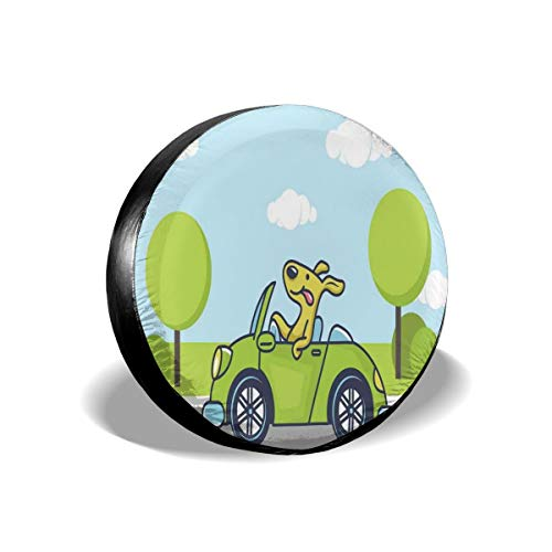 GULTMEE Tire Cover Tire Cover Wheel Covers,Puppy On The Road Car Jack Russell Journey Terrier Speed Race Cartoon,for SUV Truck Camper Travel Trailer Accessories(14,15,16,17 Inch) 14