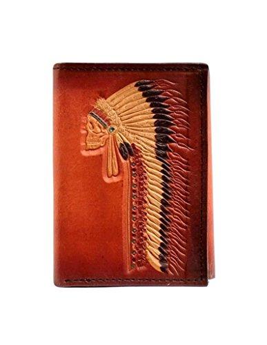 Ariat Unisex-Adult's Native Head Dress Trifold Wallet, tan